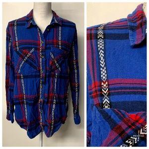 BDG UO Southwestern Trim Plaid Button Up Shirt